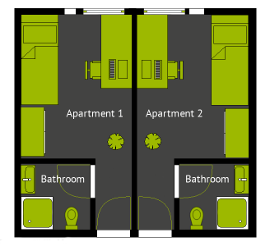 Floor plan of a typical 1-room apartment