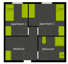 Floor plan of a typical 2-room apartment with a common bathroom