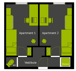 Floor plan of a typical 2-room apartment